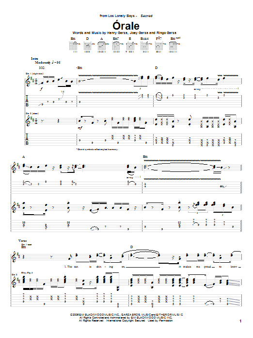 Tablature guitare Orale de Los Lonely Boys - Tablature Guitare