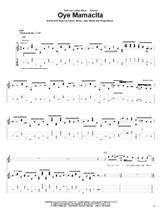 Oye Mamacita Sheet Music