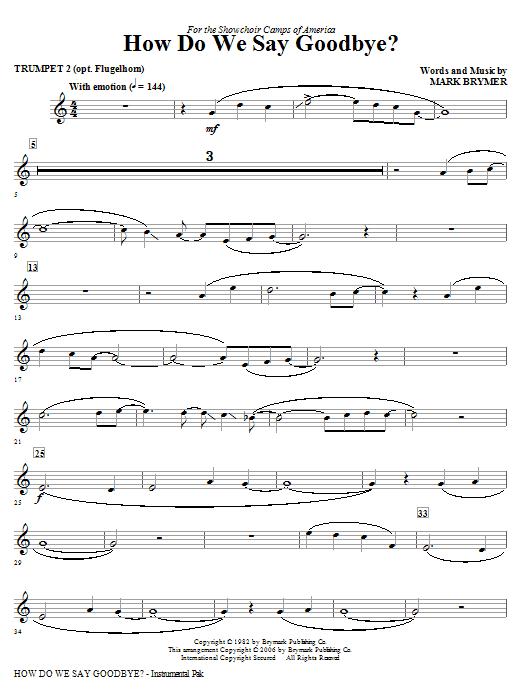 How Do We Say Goodbye? - Trumpet 2 (opt. Flugelhorn) Sheet Music