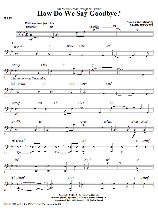 How Do We Say Goodbye? - Bass Sheet Music