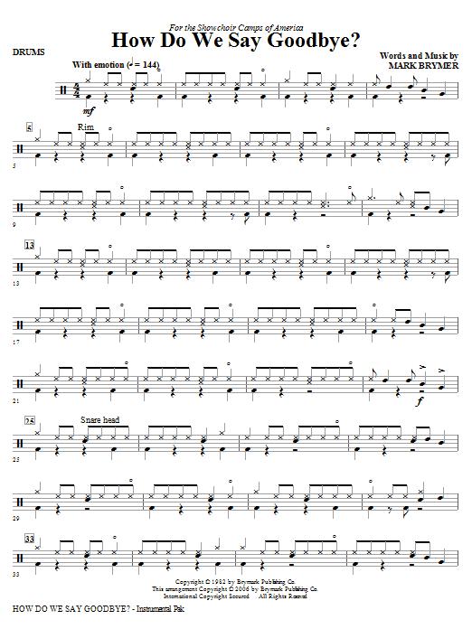 How Do We Say Goodbye? - Drums (Choir Instrumental Pak)