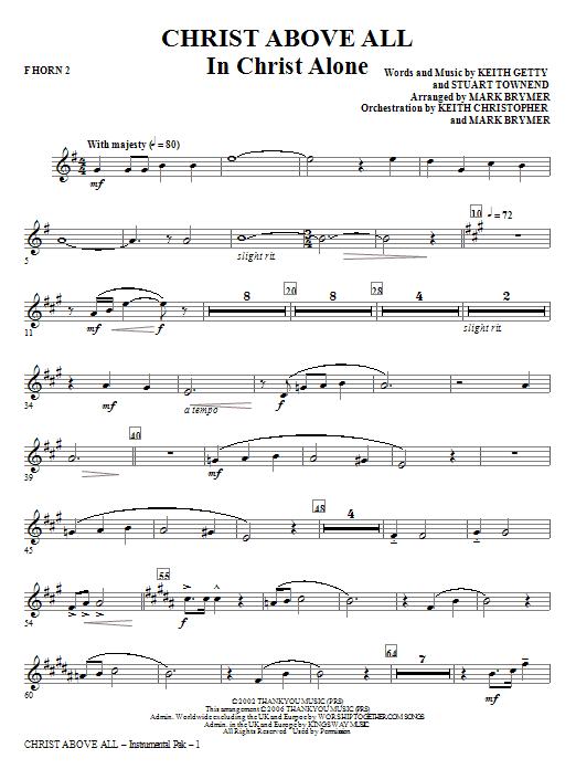 Christ Above All - F Horn 2 Sheet Music