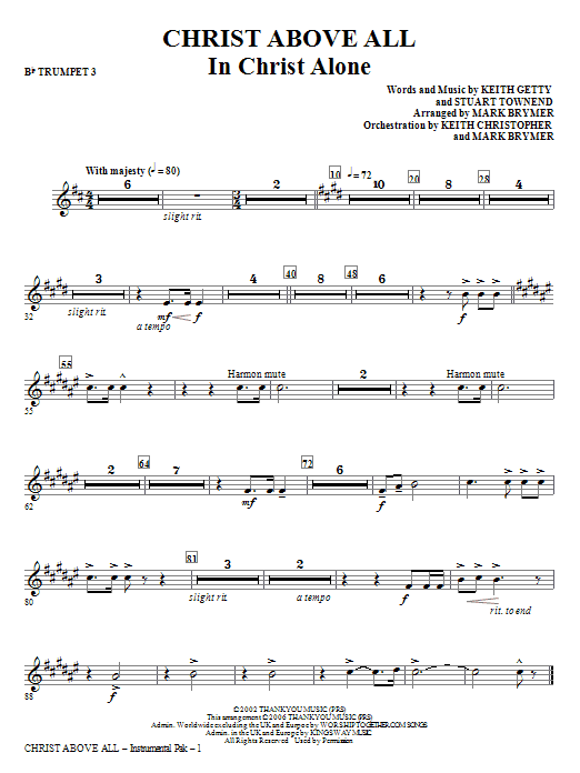Christ Above All - Bb Trumpet 3 Sheet Music