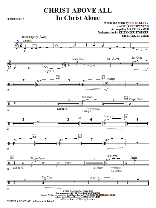 Christ Above All - Percussion Sheet Music