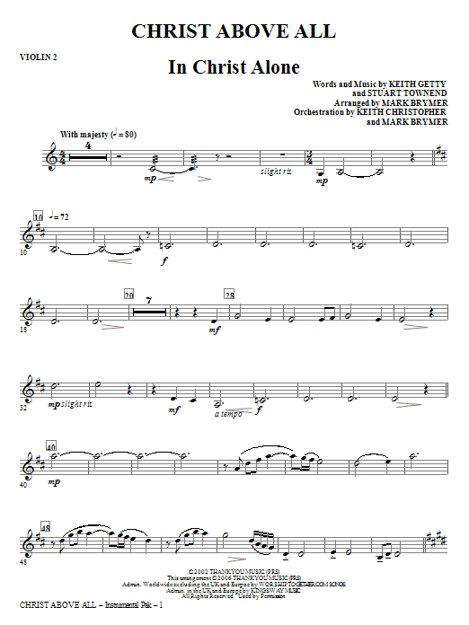 Christ Above All - Violin 2 Sheet Music