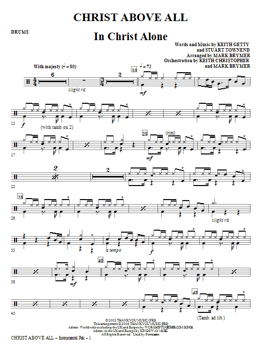Christ Above All - Drums Sheet Music