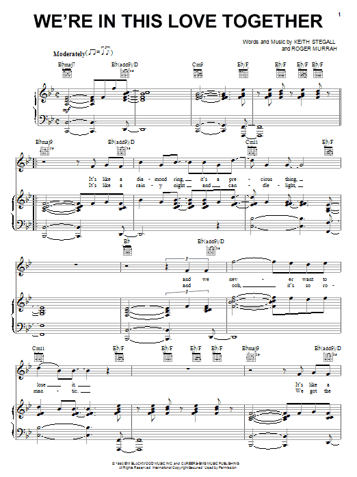 We're In This Love Together Sheet Music