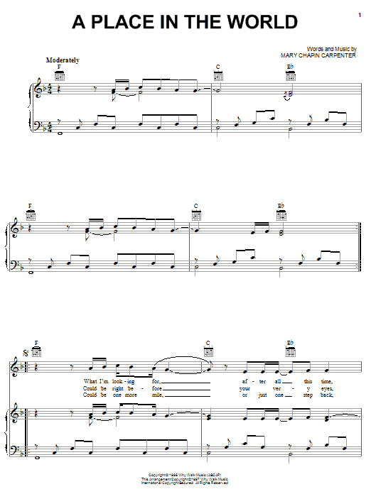 A Place In The World Sheet Music