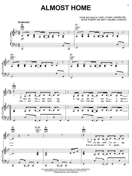Partition piano Almost Home de Mary Chapin Carpenter - Piano Voix Guitare (Mélodie Main Droite)