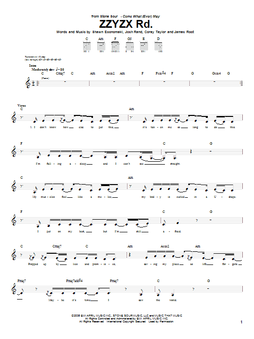 Tablature guitare ZZYZX Rd. de Stone Sour - Tablature Guitare