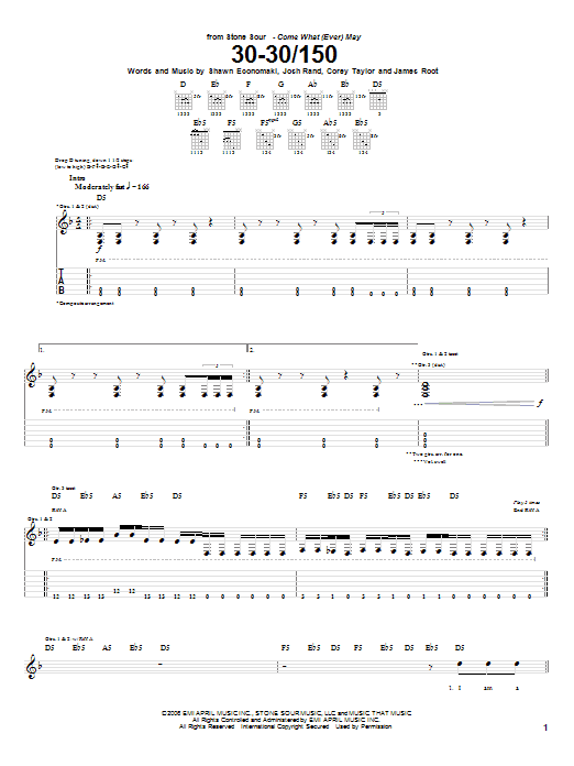Tablature guitare 30-30/150 de Stone Sour - Tablature Guitare