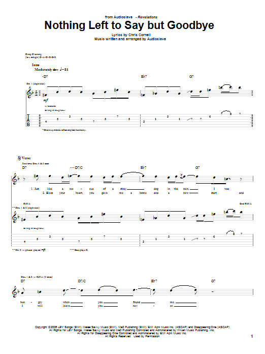 Tablature guitare Nothing Left To Say But Goodbye de Audioslave - Tablature Guitare