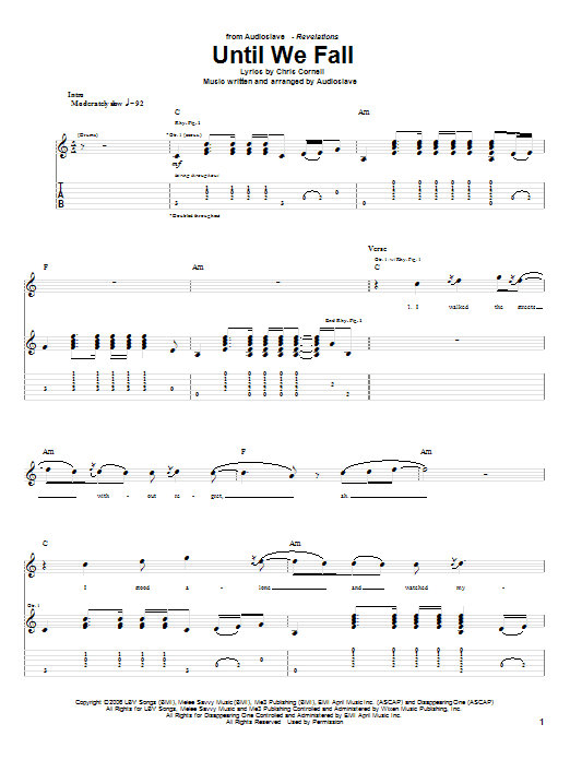 Tablature guitare Until We Fall de Audioslave - Tablature Guitare