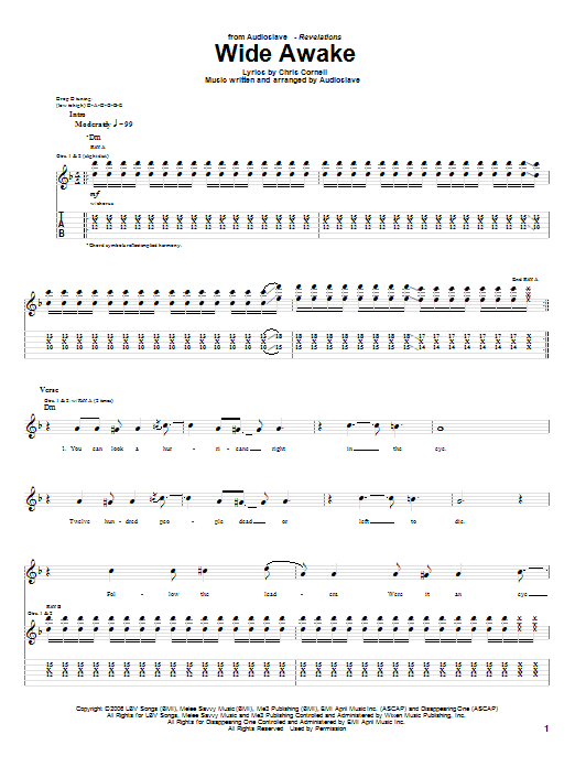 Tablature guitare Wide Awake de Audioslave - Tablature Guitare