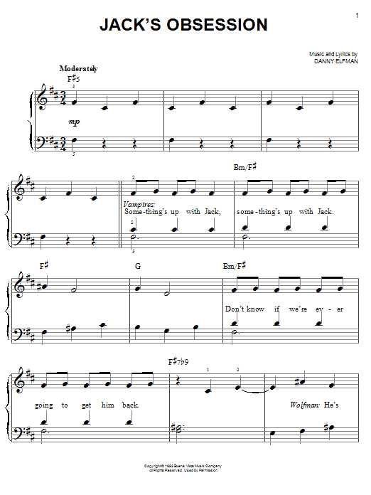 Jack's Obsession Sheet Music