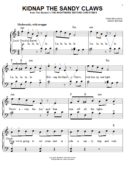 Kidnap The Sandy Claws Sheet Music