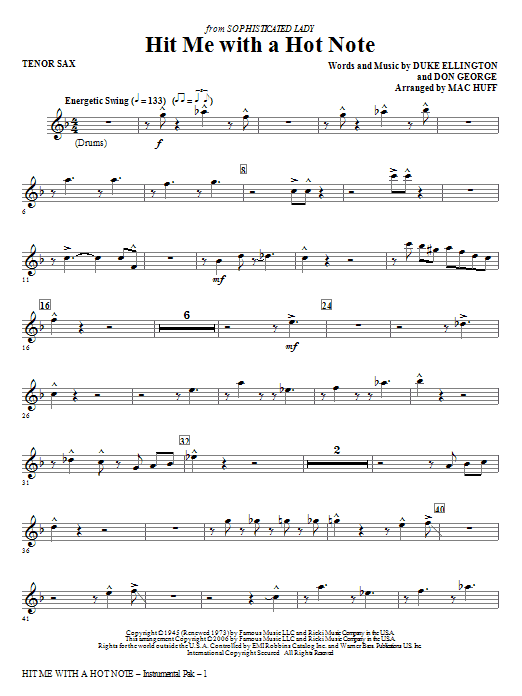 Hit Me With A Hot Note - Tenor Sax Sheet Music