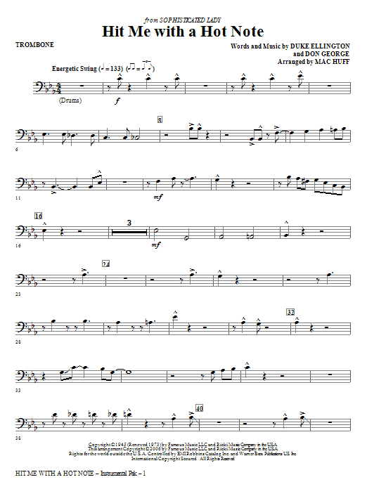 Hit Me With A Hot Note - Trombone Sheet Music