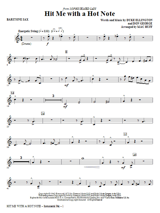 Hit Me With A Hot Note - Baritone Sax Sheet Music