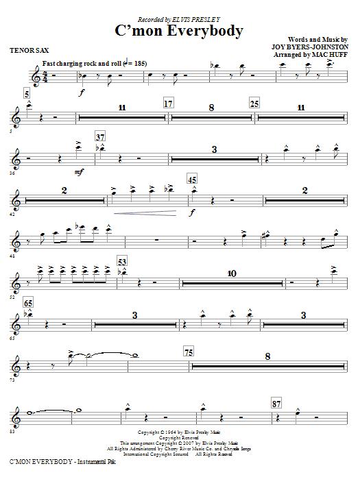 C'mon Everybody - Tenor Sax Sheet Music