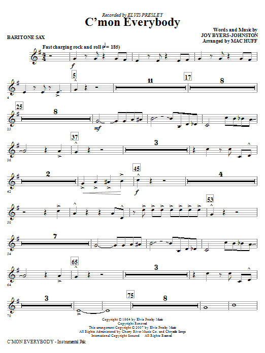 C'mon Everybody - Baritone Sax Sheet Music