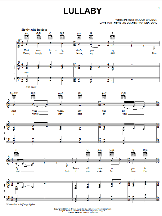 Partition piano Lullaby de Josh Groban - Piano Voix Guitare (Mélodie Main Droite)