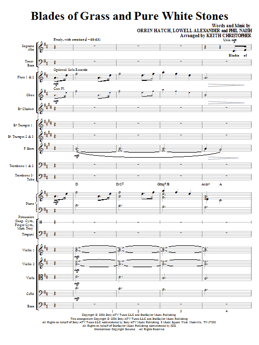 Blades Of Grass And Pure White Stones (COMPLETE) sheet music for orchestra/band (Orchestra) by Keith Christopher and Lowell Alexander. Score Image Preview.
