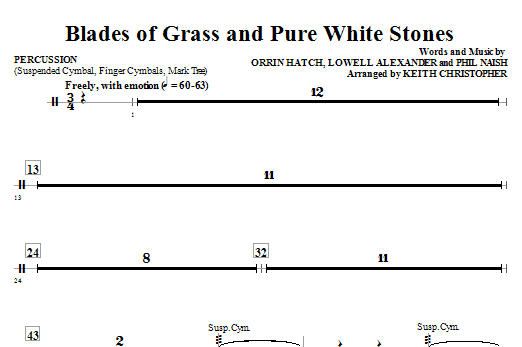 Blades Of Grass And Pure White Stones - Percussion Sheet Music