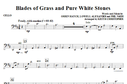 Blades Of Grass And Pure White Stones - Cello (Choir Instrumental Pak)