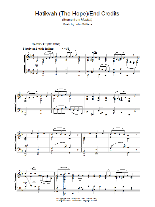 Hatikvah (The Hope)/End Credits (from Munich) Sheet Music