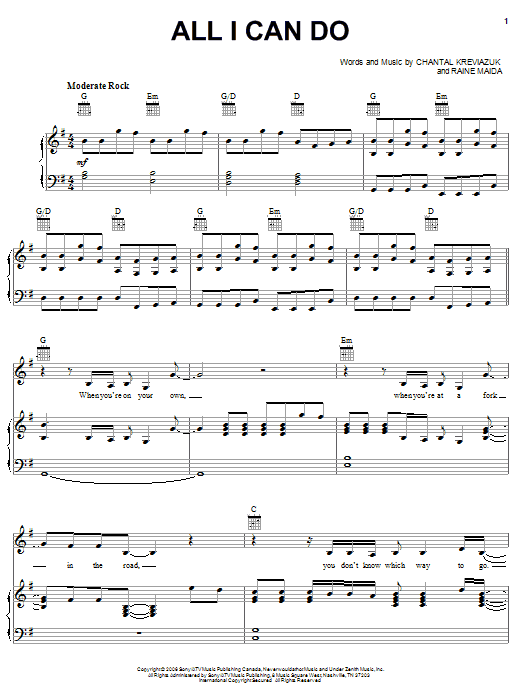 All I Can Do (Piano, Vocal & Guitar (Right-Hand Melody))