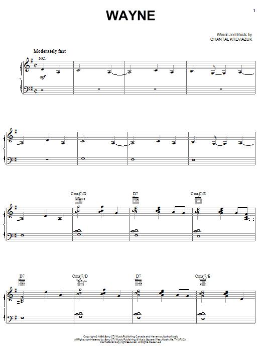 Wayne (Piano, Vocal & Guitar (Right-Hand Melody))
