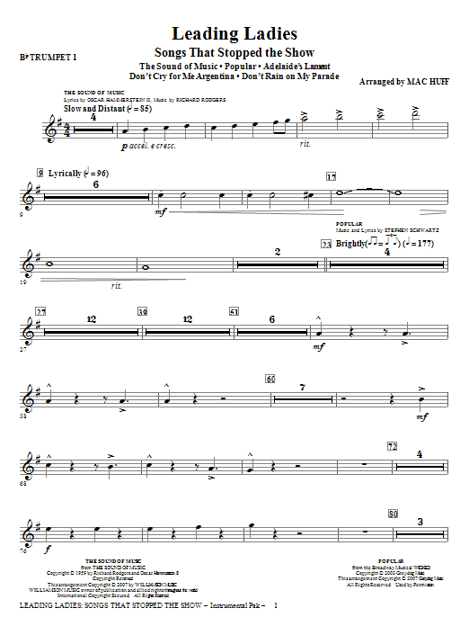 Leading Ladies: Songs That Stopped the Show - Trumpet 1 Sheet Music