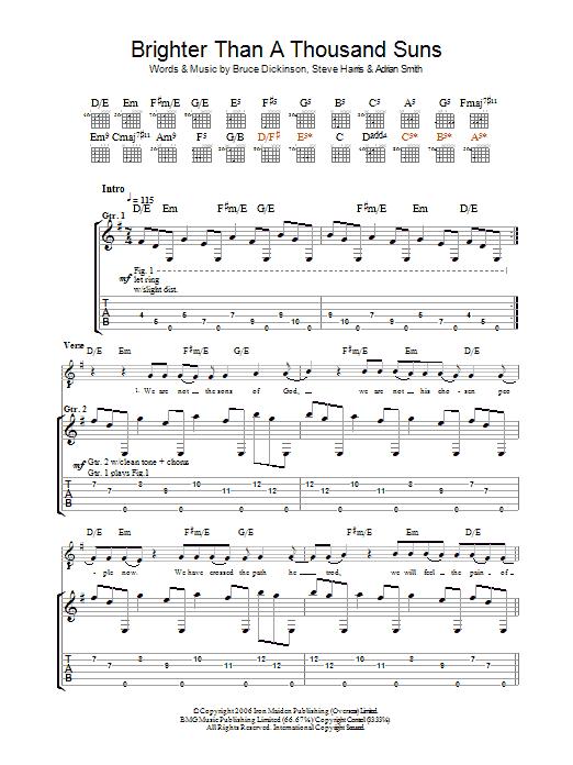 Brighter Than A Thousand Suns (Guitar Tab)