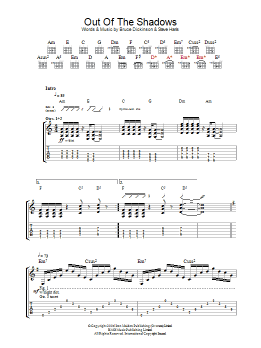 Out Of The Shadows (Guitar Tab)
