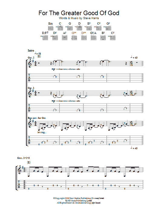 For The Greater Good Of God (Guitar Tab)