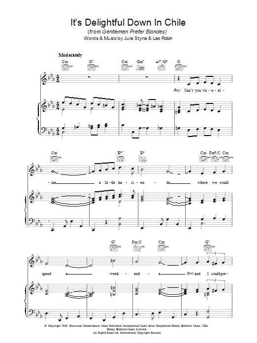 It's Delightful Down In Chile (Piano, Vocal & Guitar)