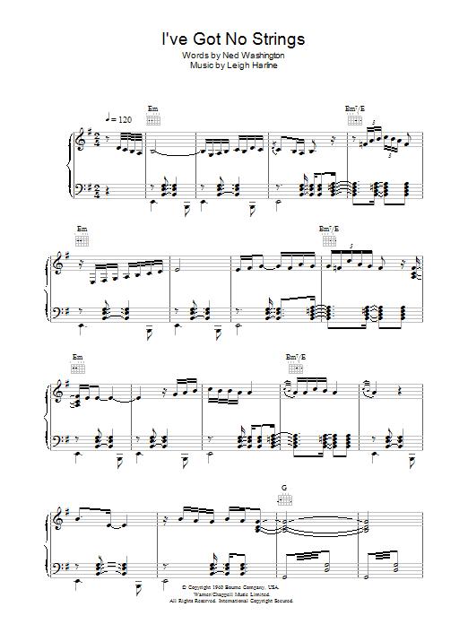 I've Got No Strings (Piano, Vocal & Guitar)