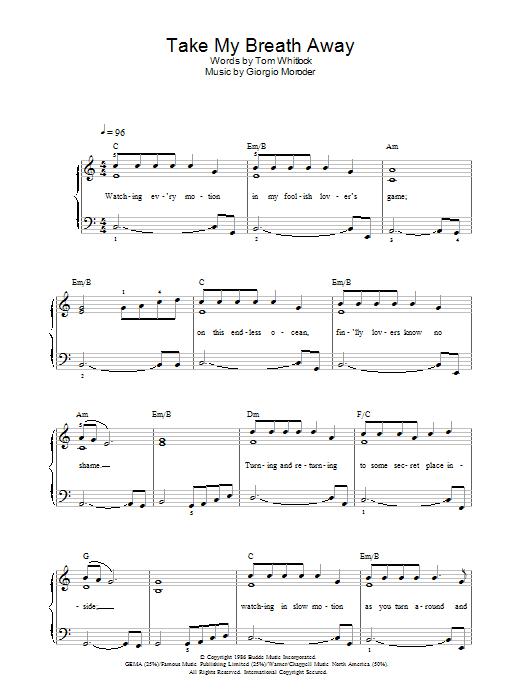 Take My Breath Away (Piano, Vocal & Guitar)