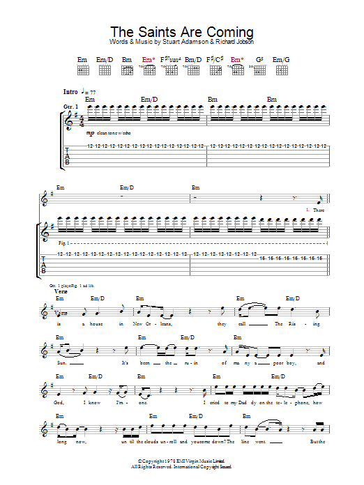 The Saints Are Coming Sheet Music