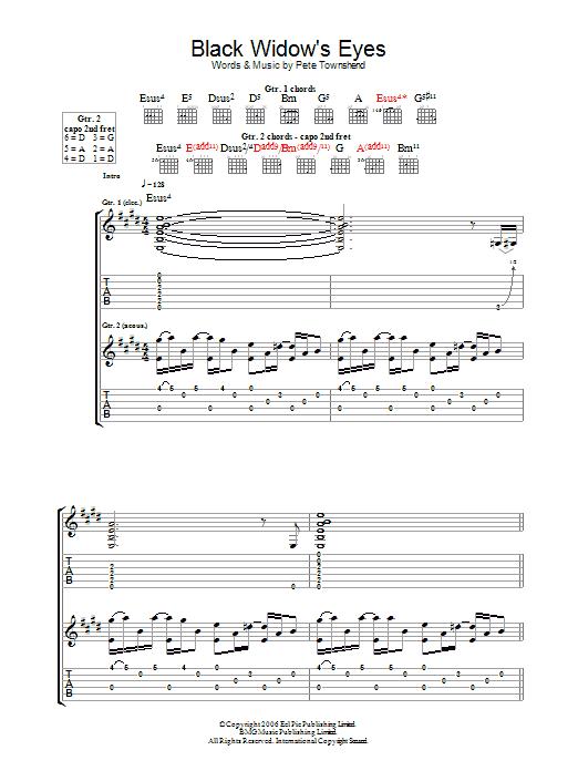 Black Widow's Eyes Sheet Music