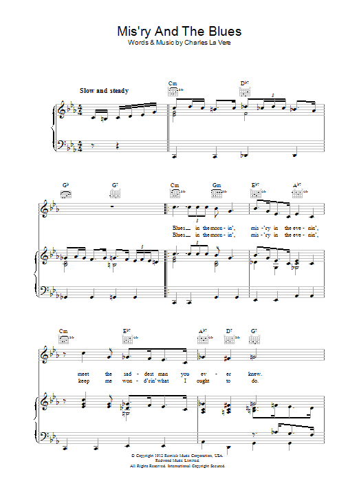 Mis'ry And The Blues Sheet Music