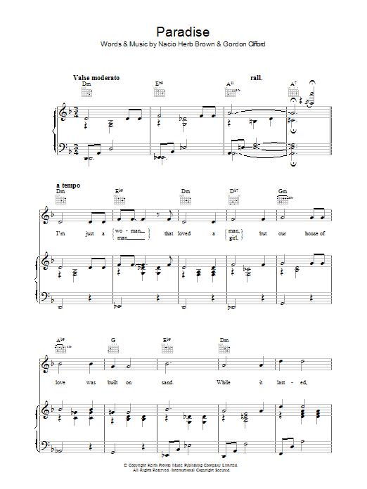 Paradise (Piano, Vocal & Guitar)