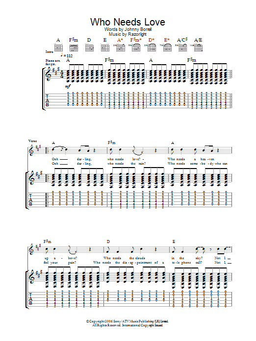 Who Needs Love Sheet Music