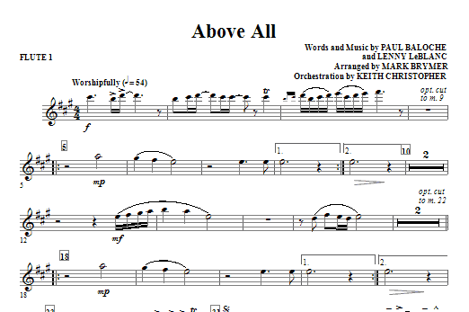 Above All - Flute 1 - Sheet Music to Download