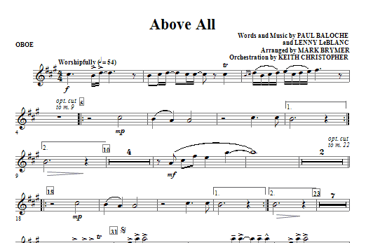 Above All - Oboe Sheet Music