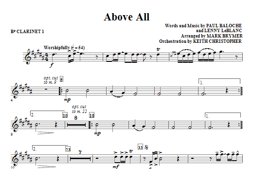 Above All - Bb Clarinet 1 Sheet Music