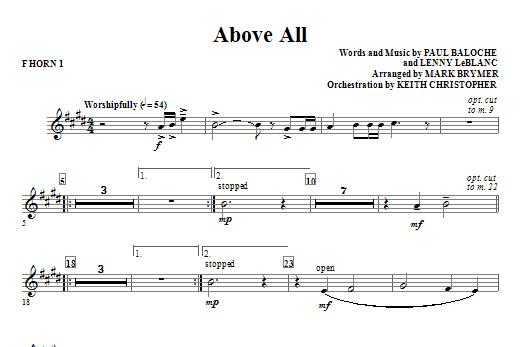 Above All - F Horn 1 Sheet Music