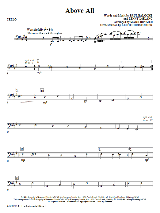 Above All - Cello Sheet Music