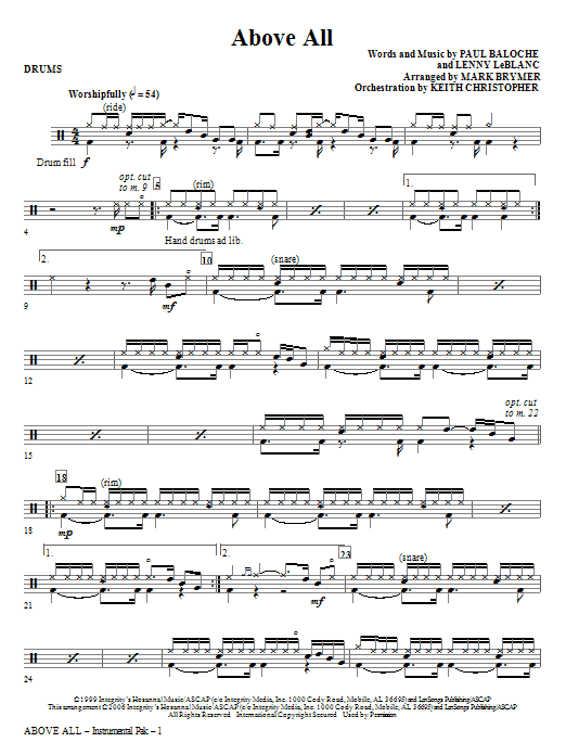 Above All - Drums Sheet Music